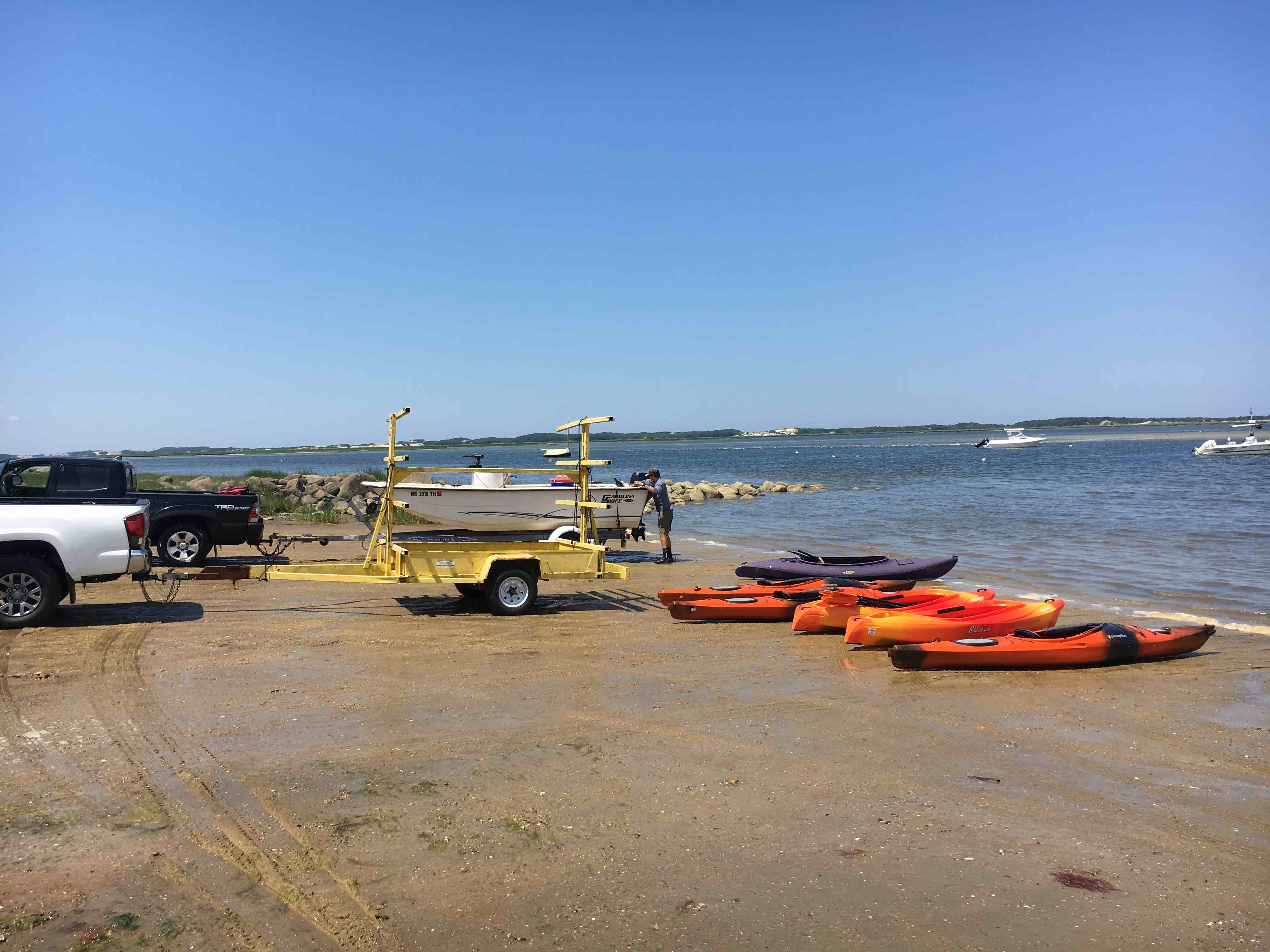Unloading the kayaks for a tour